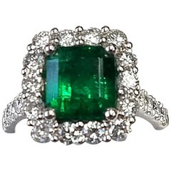 Platinum Emerald Cut Emerald and Diamond Ring