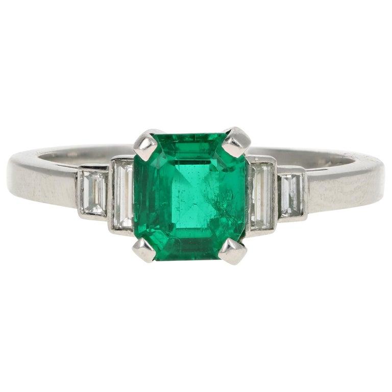 Platinum 1.28 Carat Columbian Emerald GIA Certified For Sale