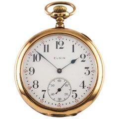 Elgin Open-Face Gold-Filled Antique Pocket Watch Grade 193 12S 19J 1908