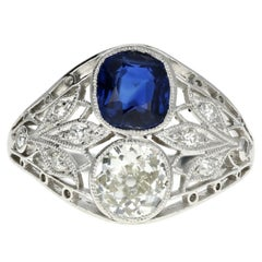 Art Deco Platinum GIA Certified No Heat Sapphire and Diamond Ring
