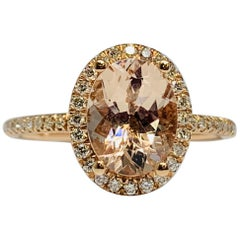14 Karat Rose Gold 2.04 Carat Total Weight Morganite and Diamond Engagement Ring