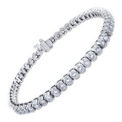 18 Karat White Gold Bezel Set Round Diamond Bracelet 4.93 Carat