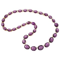 Victorian Amethyst Rivière Necklace, Wearable at 3 Lengths, Pair of Bracelets