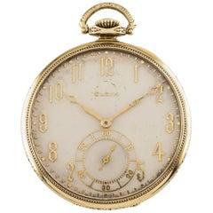 Elgin Crusader Open Face 14 Karat Yellow Gold Antique Pocket Watch 12S 17J 1925