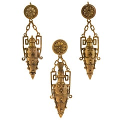 Victorian French Etruscan Urn Earrings and Perfume Pendant Set