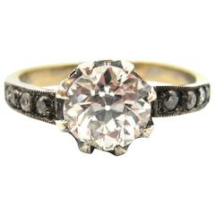 French Antique 1.25 Carat Old European Cut Diamond Silver Gold Engagement Ring