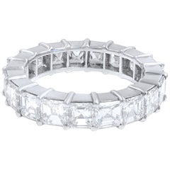 Asscher Cut Diamond Eternity Band Ring 5.07 Carat Platinum