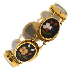 Victorian Pietra Dura Floral Link Bracelet