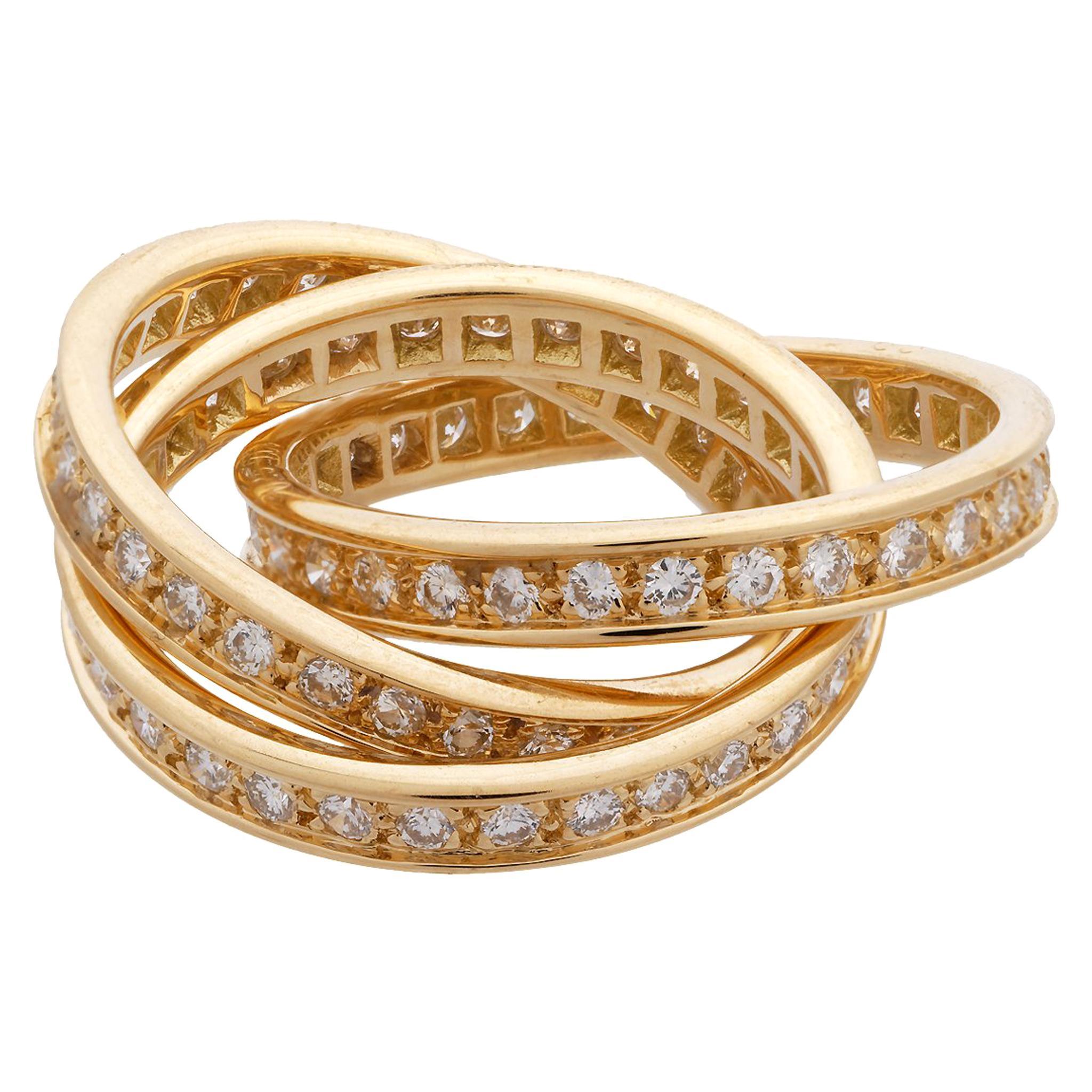 "Cartier 18 Karat Yellow Gold ""Trinity"" Diamond Ring"