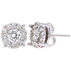 1.38 Carat Round Diamond Floret Design 14 Karat White Gold Stud Earrings