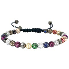 Rosa Van Parys Gabby Diamond and Color Precious Stones Pavé Beaded Bracelet