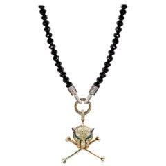 Rosa Van Parys Black Diamond and Panther Head and Cross Bones Necklace