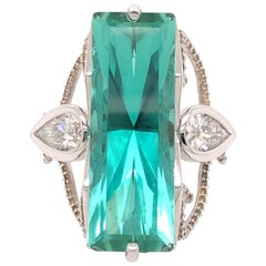 Large Emerald Cut Tourmaline Pear Shaped Diamond White Gold Ring