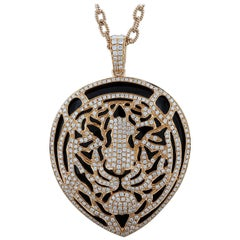 Black Onyx Diamond Gold Tiger Pendant