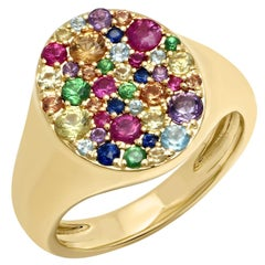 Rainbow Cluster Pinky Signet Ring 1.25 Carat tw Apprx, 14 Karat Gold, Ben Dannie