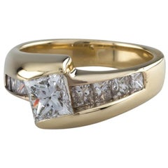 Princess Cut Diamond Solitaire 14 Karat Yellow Gold Ring with Accents GIA