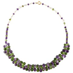 Yellow Gold Filled Necklace with Briolette Amethysts and Briolette Peridots