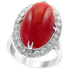 10 Carat Natural Coral and 1.5 Carat Diamond Ring 14 Karat White Gold, Estate