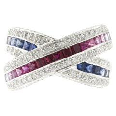 1.55 Ct Multi Sapphires & 0.50 Ct Diamonds In 18k Gold X Wedding Band Ring