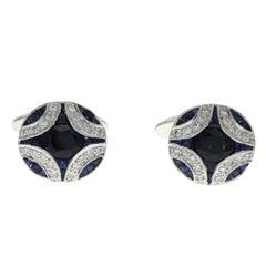 1.34 Carat Natural Sapphire and 0.18 Carat Diamonds in 18 Karat Gold Cufflinks