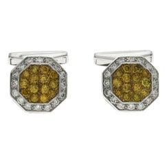 1.24 Ct Yellow Diamonds & 0.44 Ct Diamonds In 18k White Gold Cufflinks