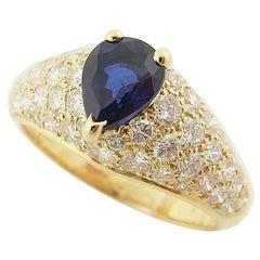 Cartier Diamond Sapphire 18 Karat Yellow Gold Simple Must Ring