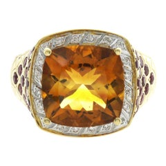 18 Karat Yellow Gold 7.15 Carat Citrine and Ruby with Diamonds Engagement Ring