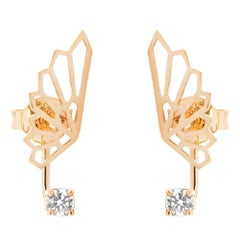 18 Karat Rose Gold & 0.20 Carat White Diamonds Ethereal Fairy Earrings by Alessa