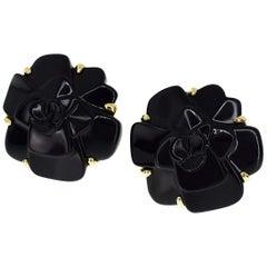Chanel Onyx 18 Karat Yellow Gold Camellia Earrings Large