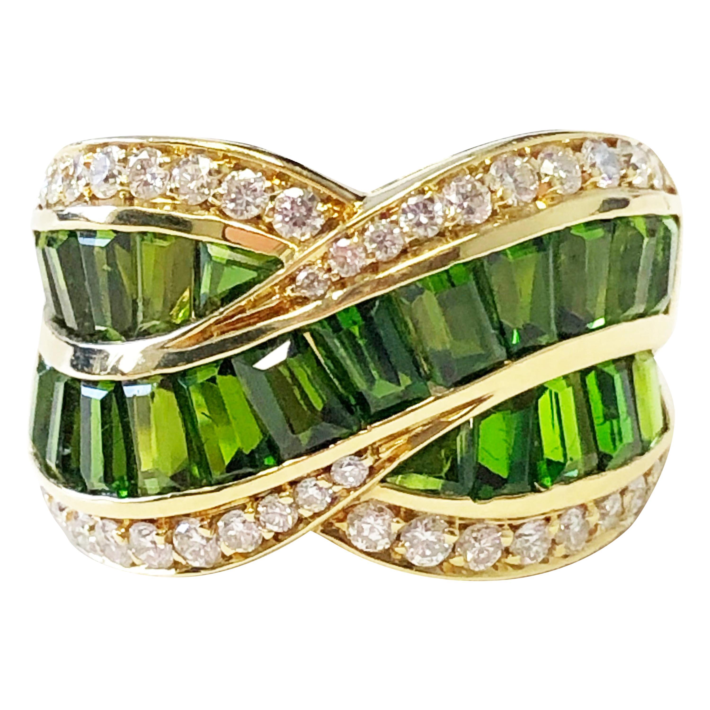 Green Tourmaline Baguette and White Diamond Round Fashion Ring in 18 Karat