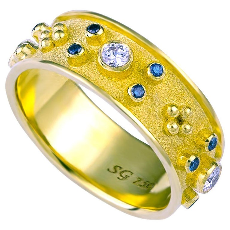 Georgios Collections 18 Karat Yellow Blue and White Diamond Band Ring For Sale