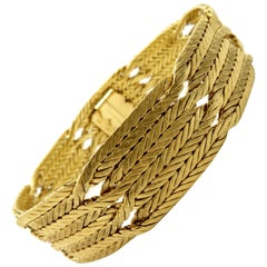 Designer Estate Mario Buccellatti Weaved Row Braided 18 Karat Gold Bracelet