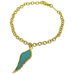 Garrard Turquoise 18 Karat Yellow Gold Feather Bracelet