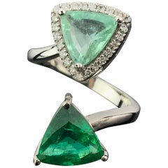 Certified Trillion Emerald and Pariaba Tourmaline Solitaire Ring