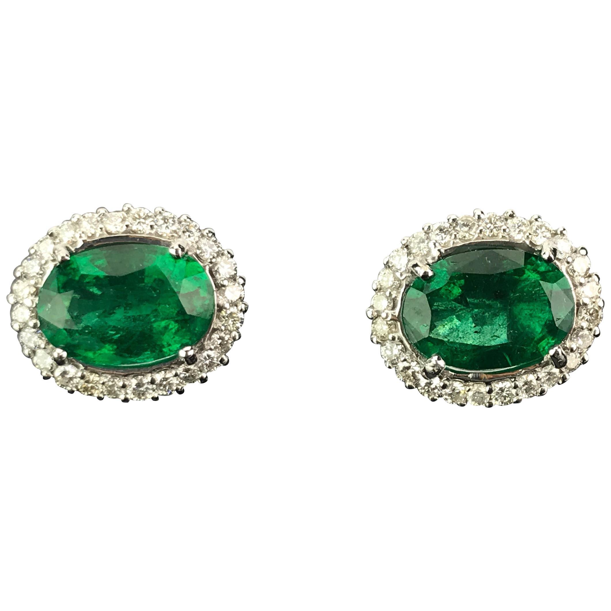 12.34 Carat Oval Emerald and Diamond 18 Karat Gold Stud Earrings