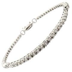 Estate Vintage 14 Karat White Gold Round Diamond Bracelet