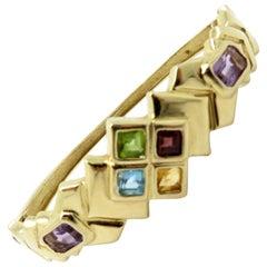 Estate 14 Karat Yellow Gold Multi-Color Gemstone Bangle Bracelet