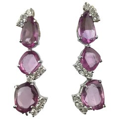 Natural Pink Sapphire and Diamond Dangling Earring