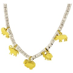Pomellato Silver 18 Karat Yellow Gold Do Do Charm Necklace