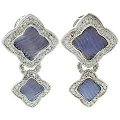 David Yurman Diamond Carved Chalcedony Quatrefoil White Gold Earrings
