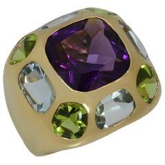 Chanel Coco Baroque Multi-Color Gemstone Yellow Gold Ring