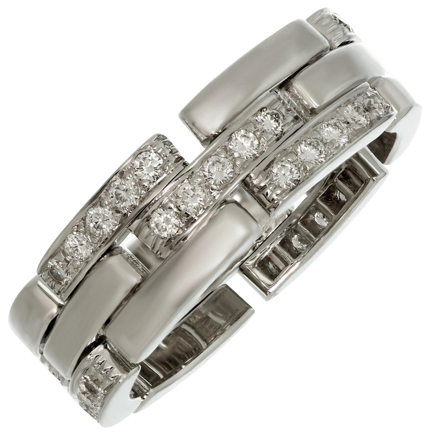 Cartier Maillon Panthère 3-Row Half-Pave Diamond White Gold Band Ring