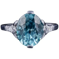 Antique Edwardian Blue Zircon Diamond Ring 18 Carat White Gold, circa 1910
