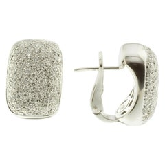 White Diamond and 18 Karat White Gold Pavé Earrings