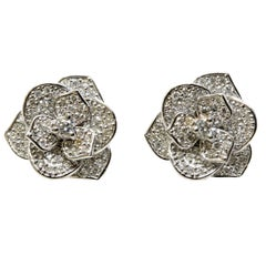 White Diamond and 18 Karat White Gold Pavé Flower Earrings