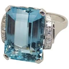 10.45 Carat Aquamarine Diamond & Platinum Cocktail Ring