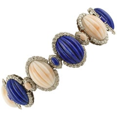 Angel Skin Pink Coral, Lapis, Diamonds, White Gold Beautiful  Link Bracelet