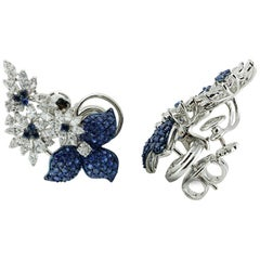 Studio Rêves Ear Cuffs with Diamonds and Blue Sapphire in 18 Karat Gold