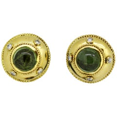 Theo Fennell, 18 Karat Gold Stud Earrings with Tourmaline and Diamonds, 1970s