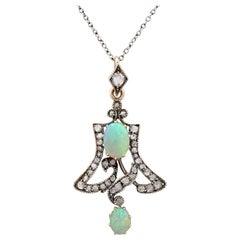 Art Nouveau Opal 1.12 Carat Diamond Pendant